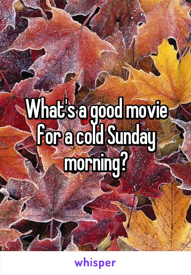 What's a good movie for a cold Sunday morning?