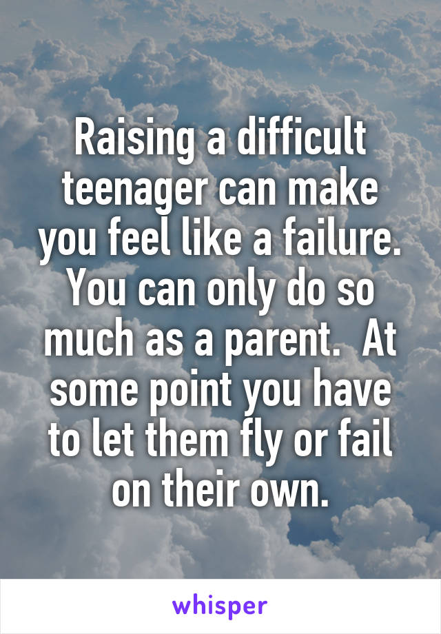 Raising a difficult teenager can make you feel like a failure. You can only do so much as a parent.  At some point you have to let them fly or fail on their own.