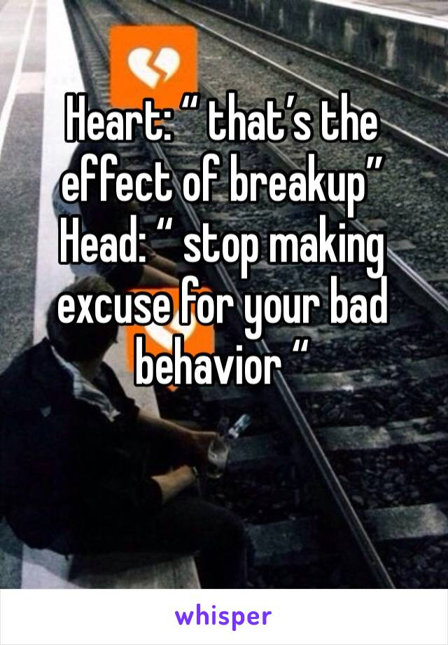 """Heart: """" that's the effect of breakup"""" Head: """" stop making excuse for your bad behavior """""""