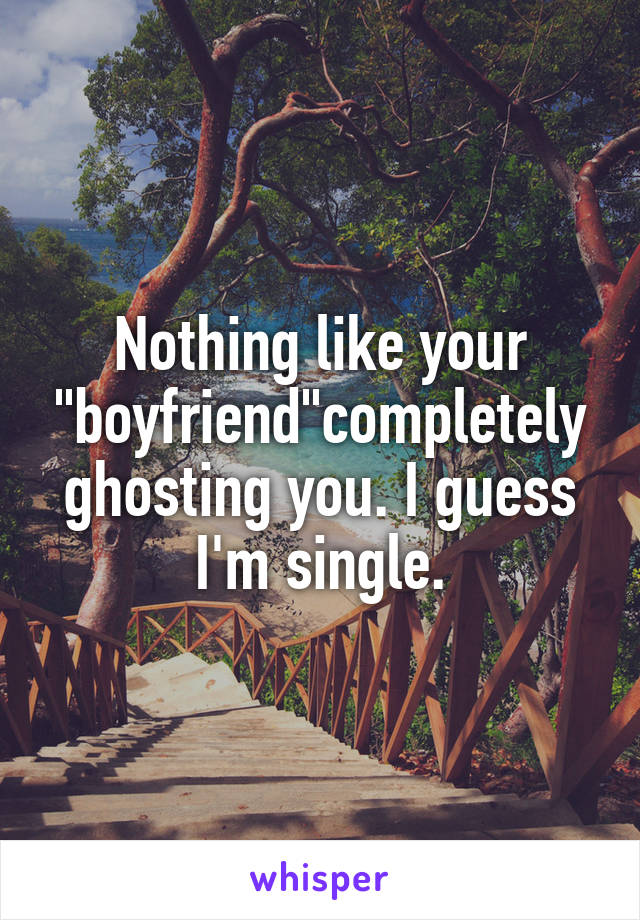 "Nothing like your ""boyfriend""completely ghosting you. I guess I'm single."