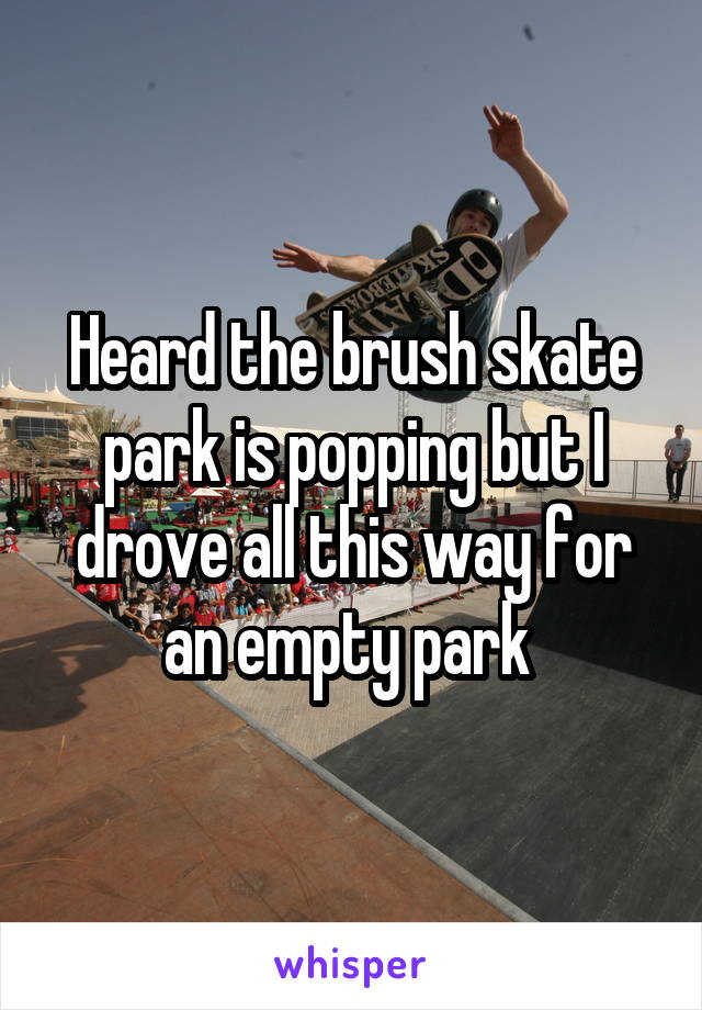 Heard the brush skate park is popping but I drove all this way for an empty park