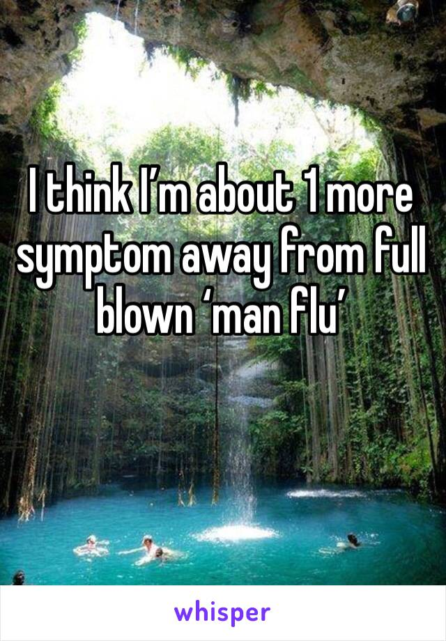 I think I'm about 1 more symptom away from full blown 'man flu'