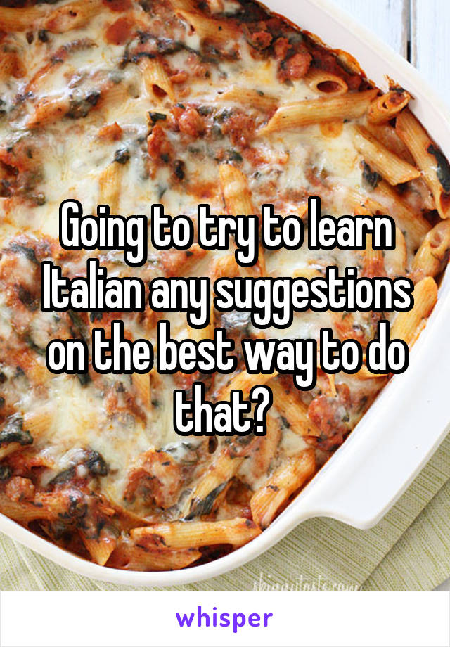 Going to try to learn Italian any suggestions on the best way to do that?