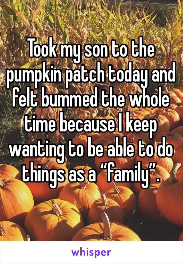 """Took my son to the pumpkin patch today and felt bummed the whole time because I keep wanting to be able to do things as a """"family""""."""