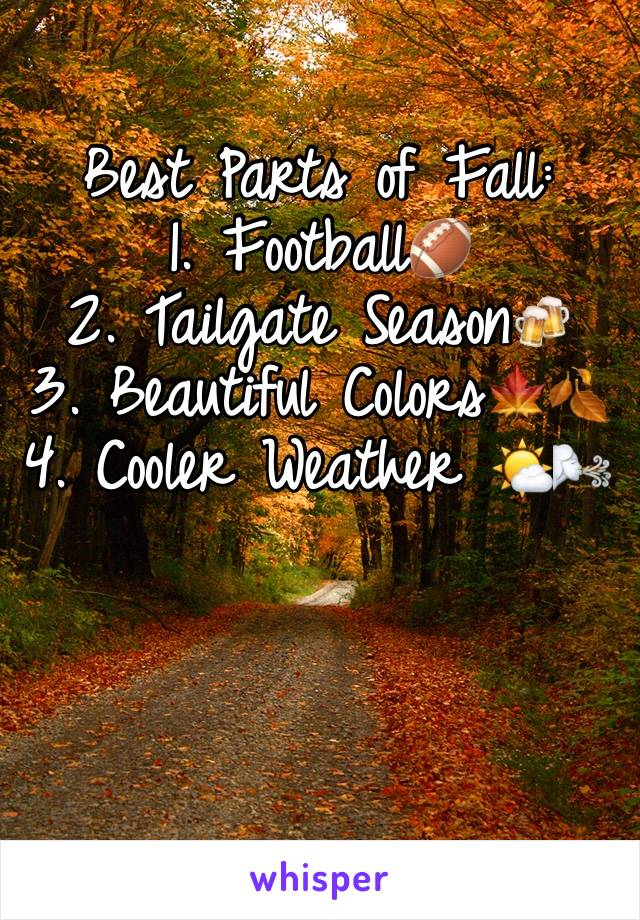 Best Parts of Fall:  1. Football🏈  2. Tailgate Season🍻  3. Beautiful Colors🍁🍂 4. Cooler Weather 🌤🌬