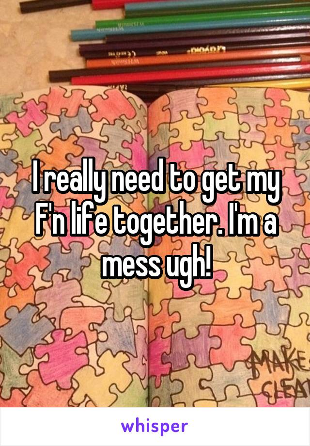 I really need to get my F'n life together. I'm a mess ugh!