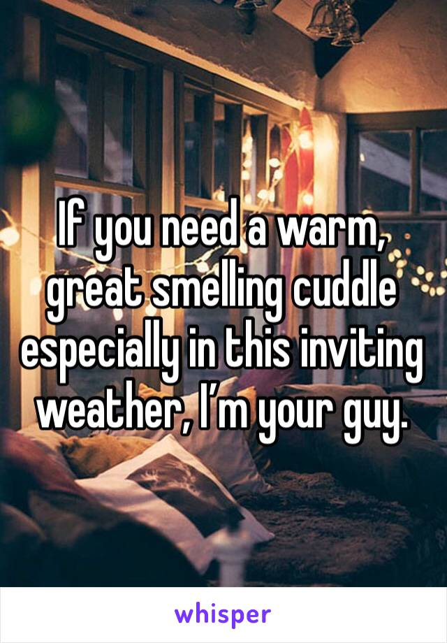 If you need a warm, great smelling cuddle especially in this inviting weather, I'm your guy.
