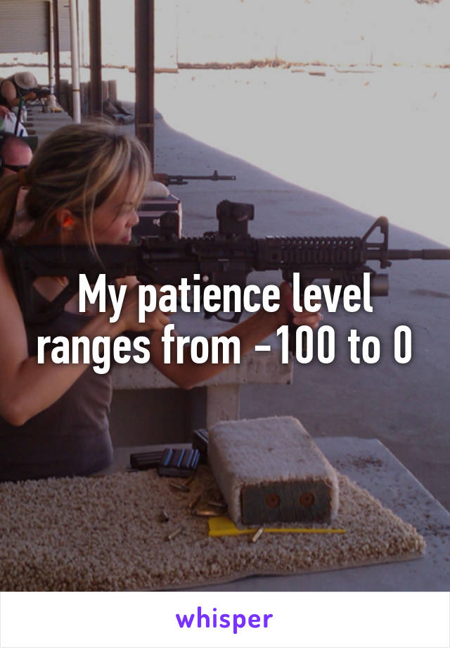 My patience level ranges from -100 to 0
