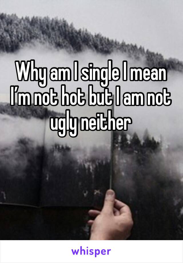 Why am I single I mean I'm not hot but I am not ugly neither
