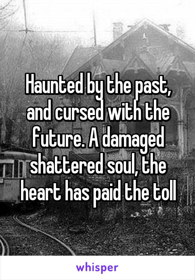 Haunted by the past, and cursed with the future. A damaged shattered soul, the heart has paid the toll