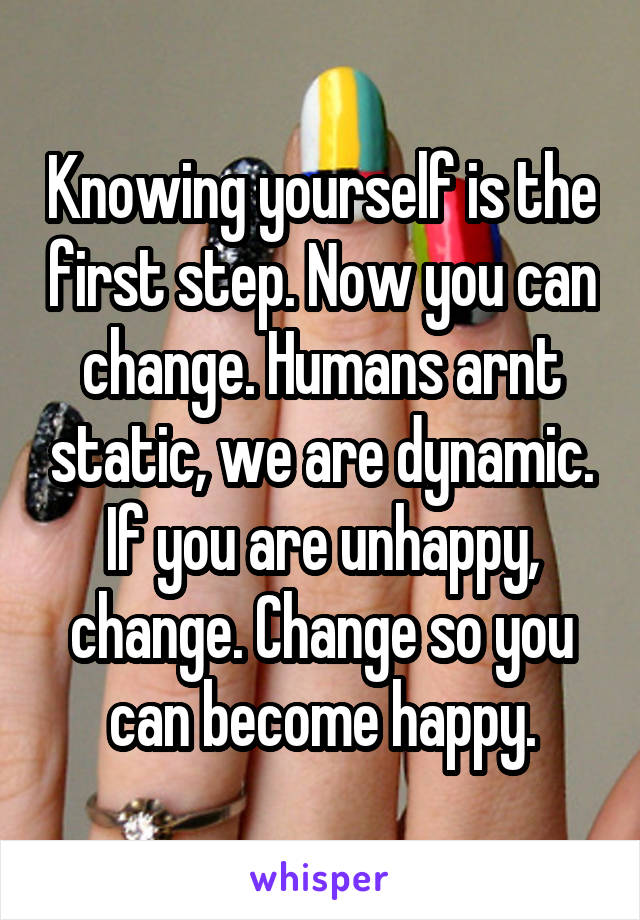 Knowing yourself is the first step. Now you can change. Humans arnt static, we are dynamic. If you are unhappy, change. Change so you can become happy.