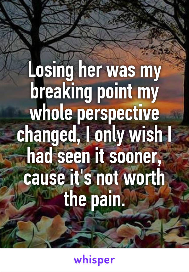 Losing her was my breaking point my whole perspective changed, I only wish I had seen it sooner, cause it's not worth the pain.