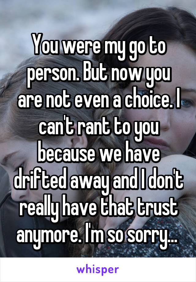 You were my go to person. But now you are not even a choice. I can't rant to you because we have drifted away and I don't really have that trust anymore. I'm so sorry...