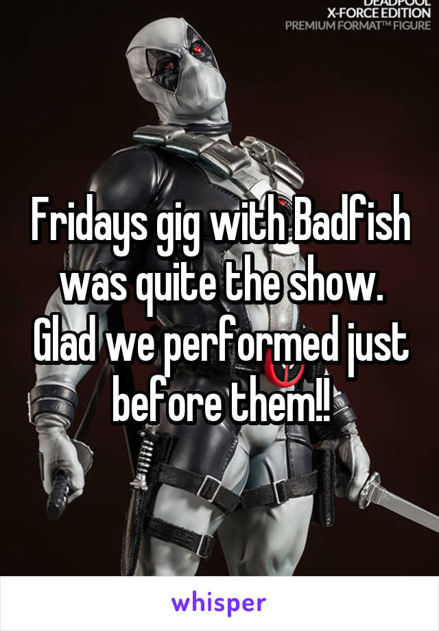 Fridays gig with Badfish was quite the show. Glad we performed just before them!!