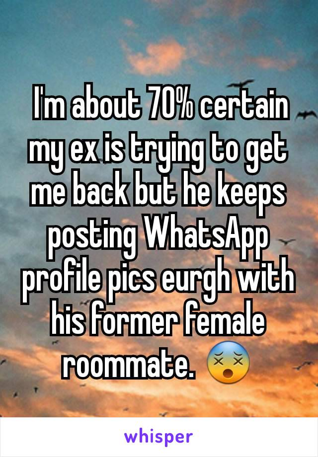 I'm about 70% certain my ex is trying to get me back but he keeps posting WhatsApp profile pics eurgh with his former female roommate. 😵
