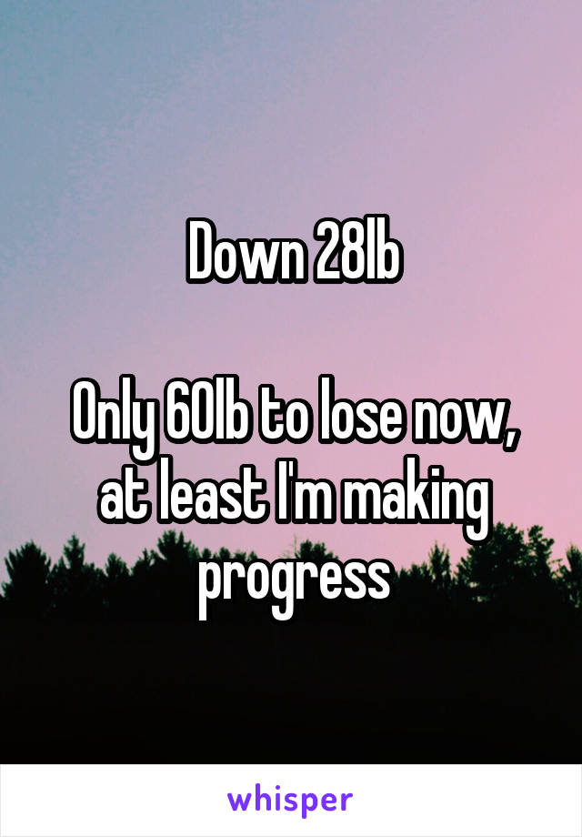 Down 28lb  Only 60lb to lose now, at least I'm making progress
