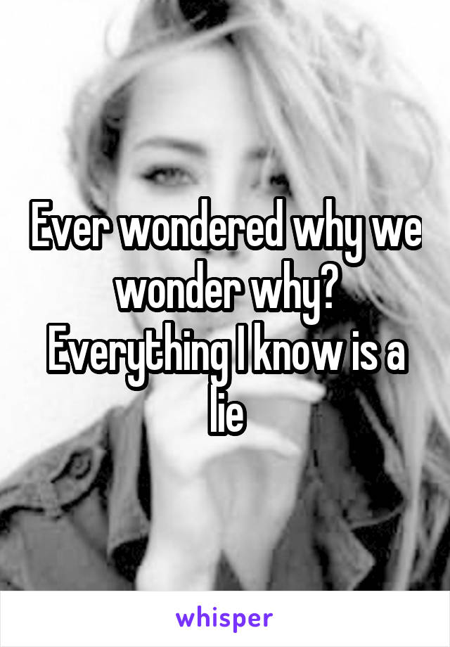 Ever wondered why we wonder why? Everything I know is a lie