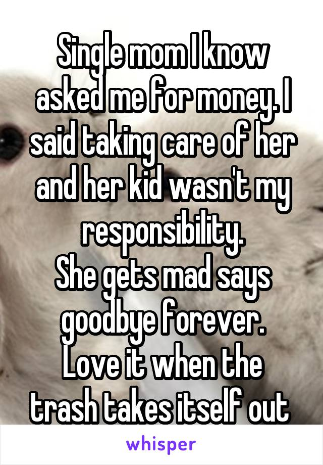Single mom I know asked me for money. I said taking care of her and her kid wasn't my responsibility. She gets mad says goodbye forever. Love it when the trash takes itself out