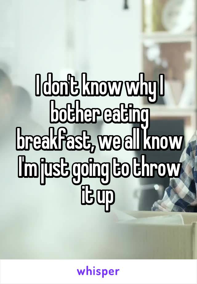I don't know why I bother eating breakfast, we all know I'm just going to throw it up