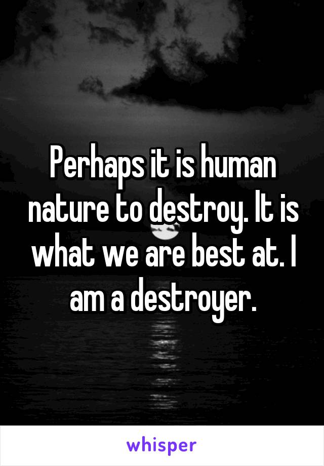Perhaps it is human nature to destroy. It is what we are best at. I am a destroyer.