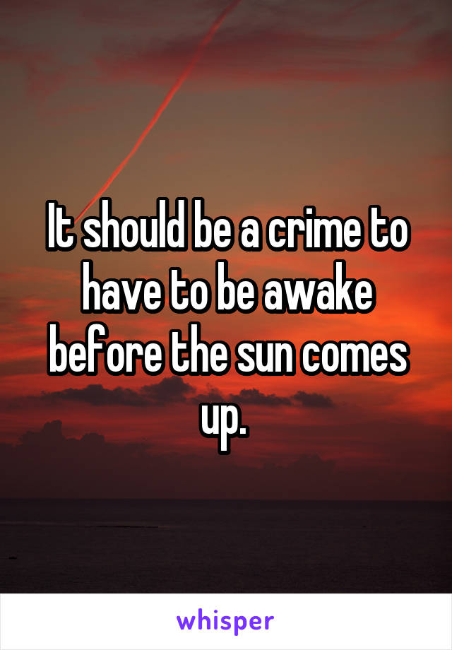 It should be a crime to have to be awake before the sun comes up.
