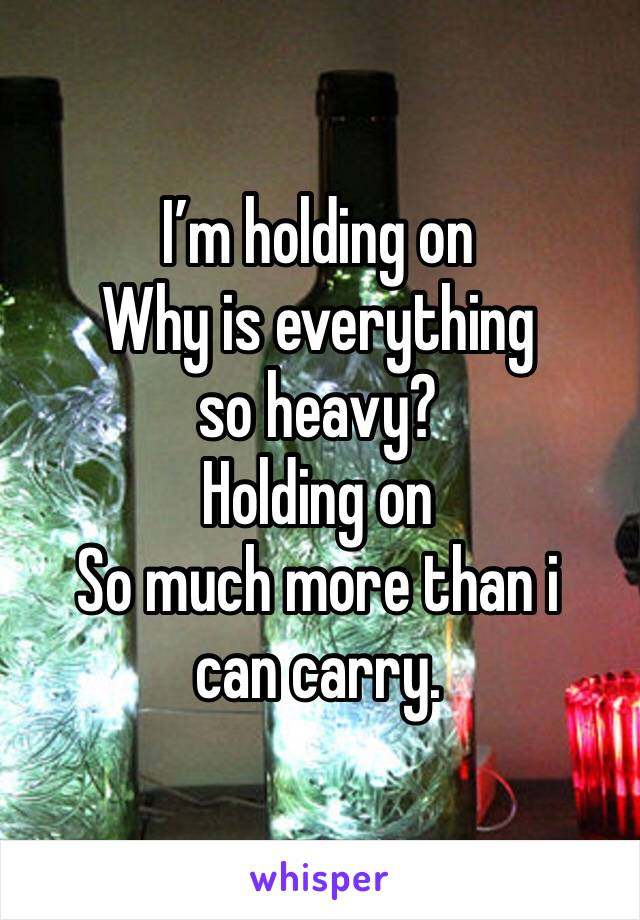 I'm holding on Why is everything so heavy? Holding on So much more than i can carry.
