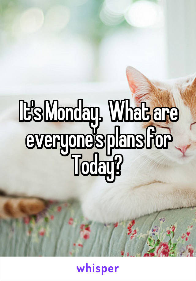 It's Monday.  What are everyone's plans for Today?