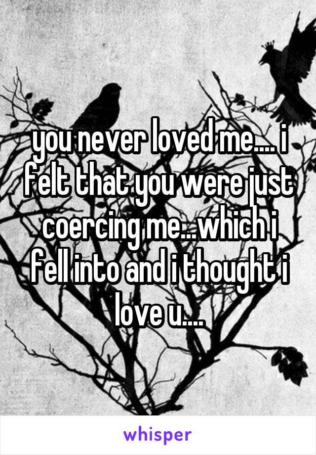 you never loved me.... i felt that you were just coercing me...which i fell into and i thought i love u....