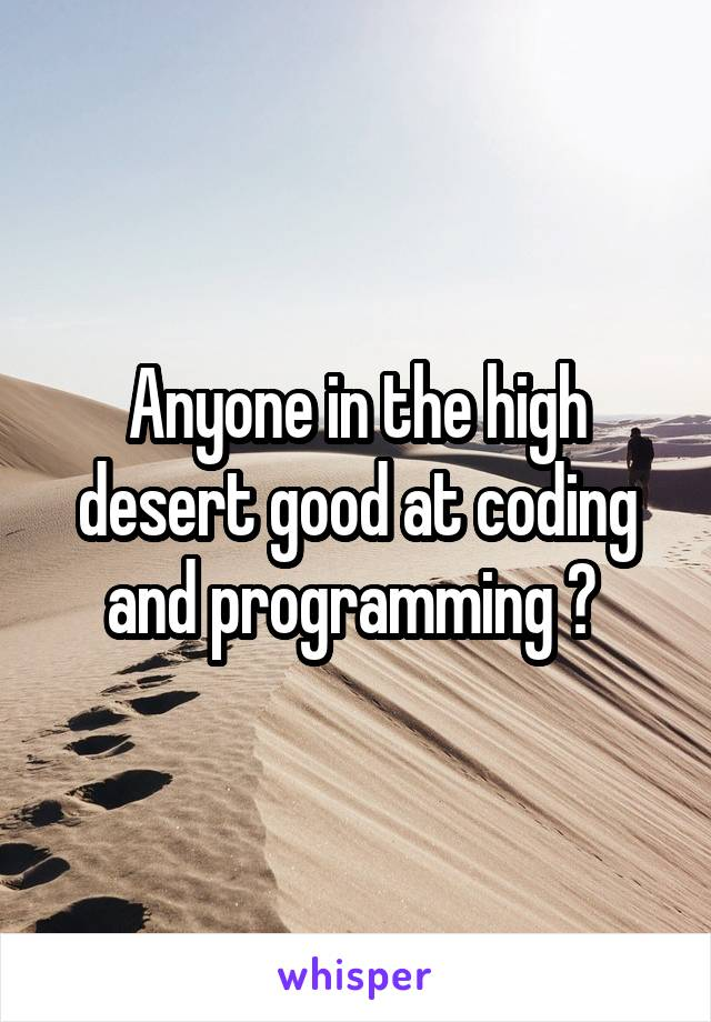 Anyone in the high desert good at coding and programming ?