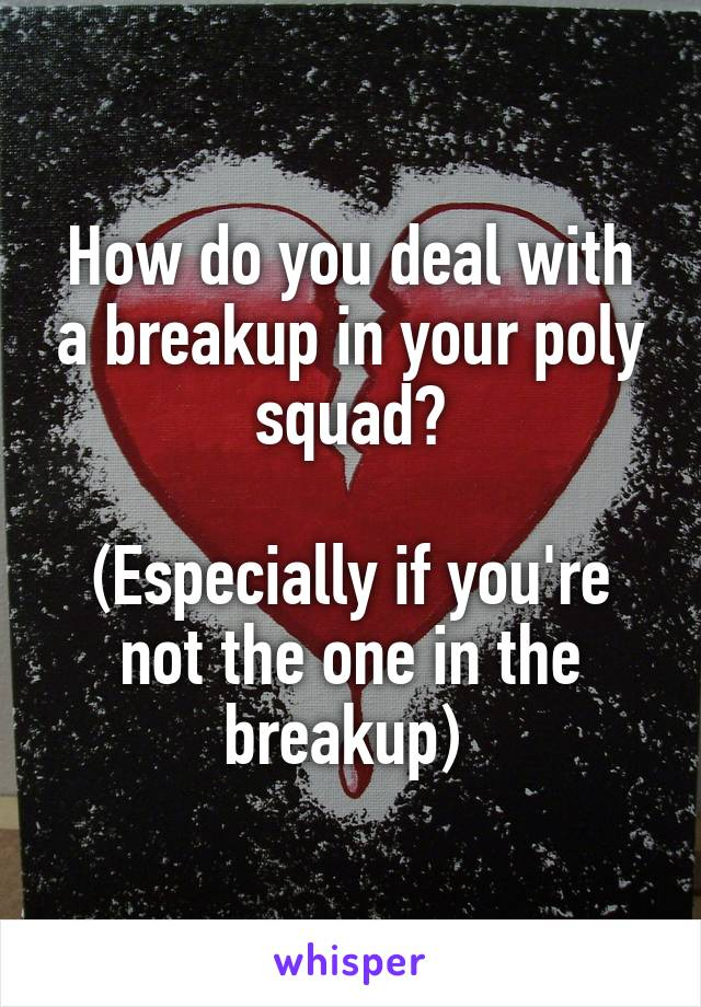 How do you deal with a breakup in your poly squad?  (Especially if you're not the one in the breakup)