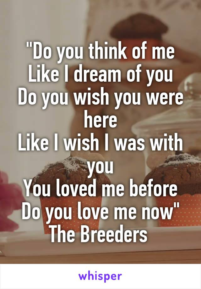 """""""Do you think of me Like I dream of you Do you wish you were here Like I wish I was with you You loved me before Do you love me now"""" The Breeders"""