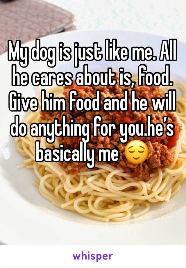 My dog is just like me. All he cares about is, food. Give him food and he will do anything for you.he's basically me 😌