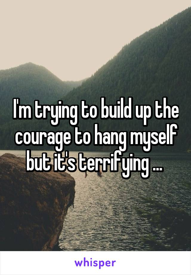 I'm trying to build up the courage to hang myself but it's terrifying ...