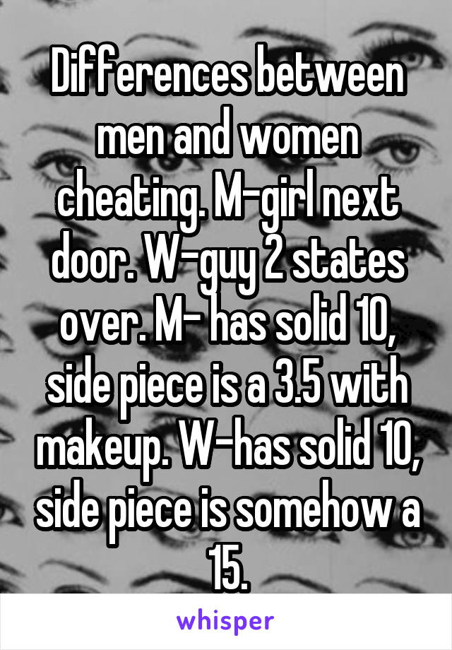 Differences between men and women cheating. M-girl next door. W-guy 2 states over. M- has solid 10, side piece is a 3.5 with makeup. W-has solid 10, side piece is somehow a 15.