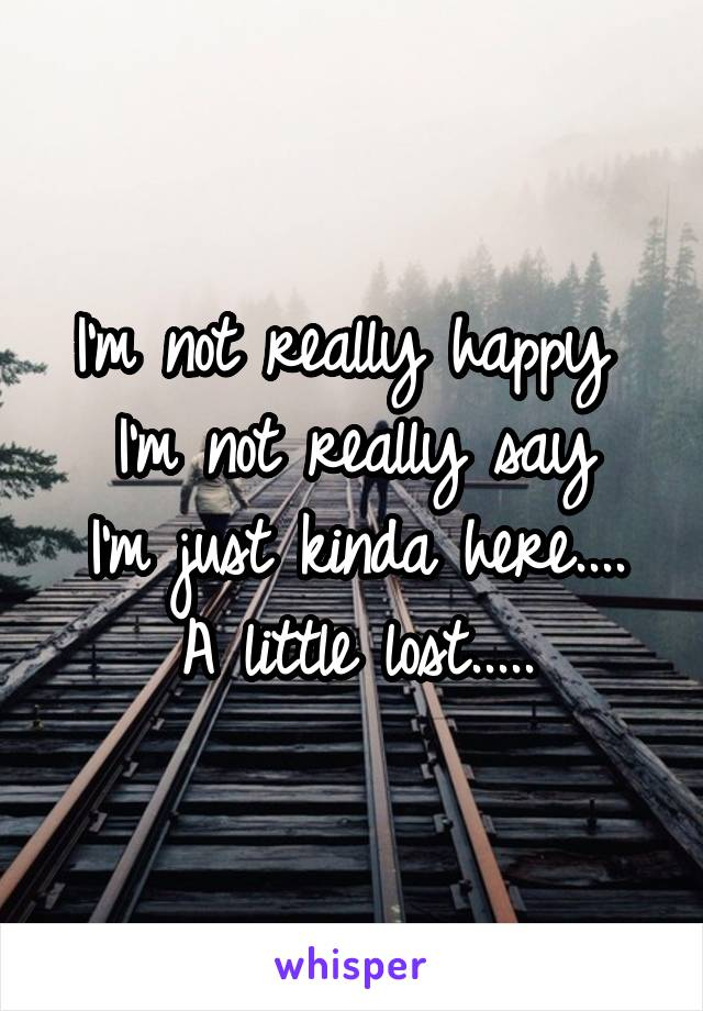 I'm not really happy  I'm not really say I'm just kinda here.... A little lost.....