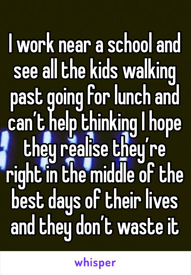 I work near a school and see all the kids walking past going for lunch and can't help thinking I hope they realise they're right in the middle of the best days of their lives and they don't waste it