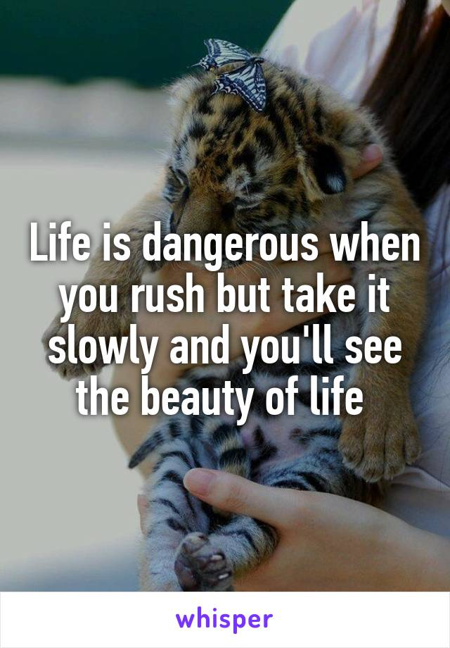 Life is dangerous when you rush but take it slowly and you'll see the beauty of life