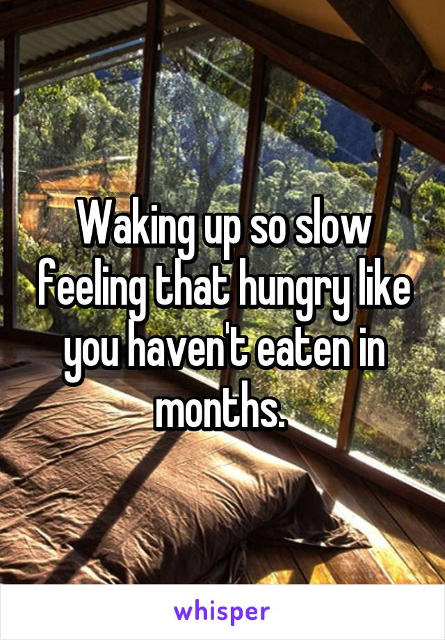 Waking up so slow feeling that hungry like you haven't eaten in months.