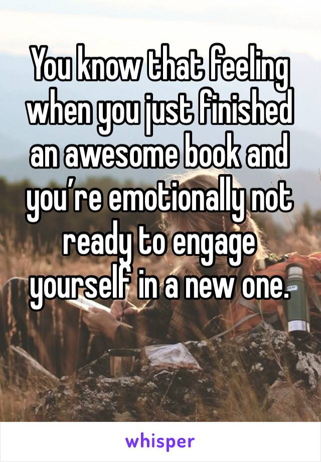 You know that feeling when you just finished an awesome book and you're emotionally not ready to engage yourself in a new one.