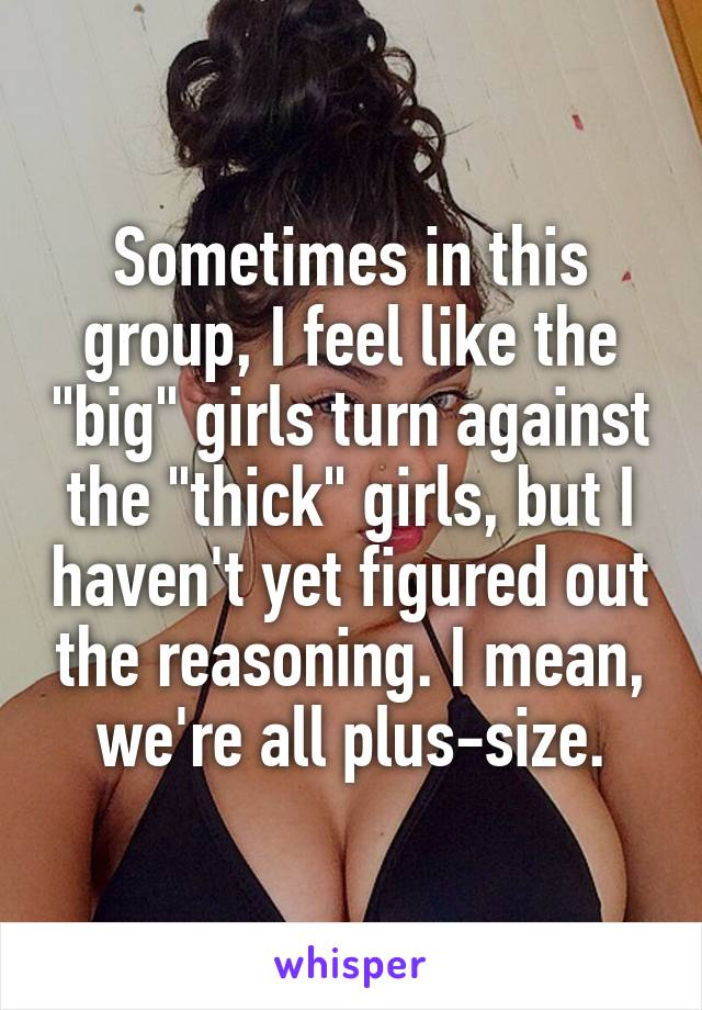 """Sometimes in this group, I feel like the """"big"""" girls turn against the """"thick"""" girls, but I haven't yet figured out the reasoning. I mean, we're all plus-size."""