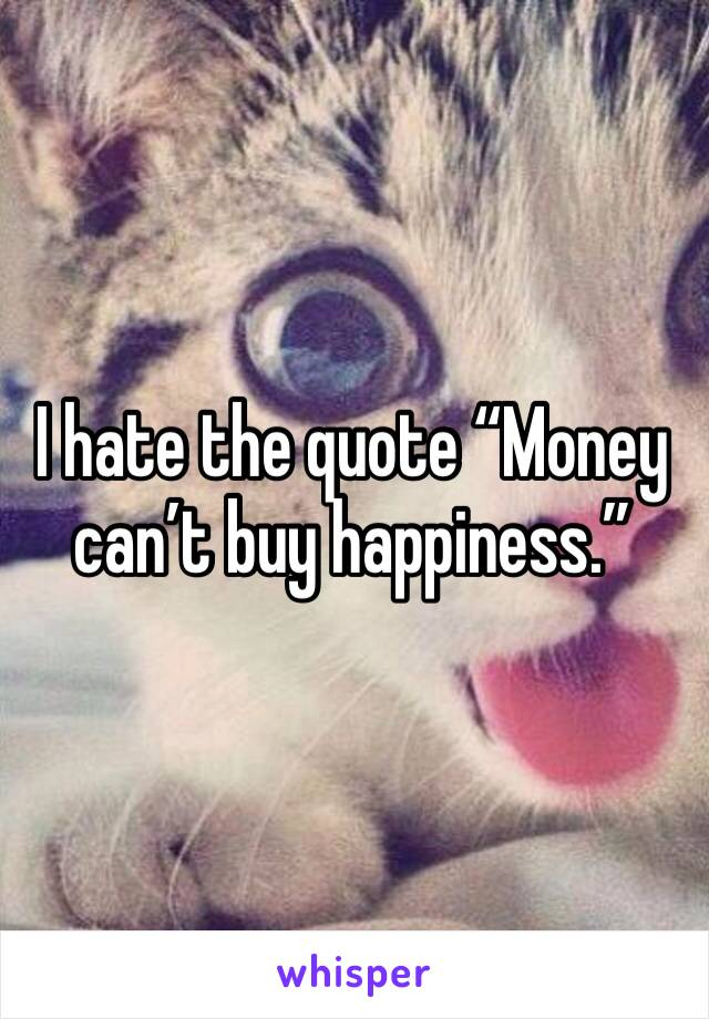 "I hate the quote ""Money can't buy happiness."""
