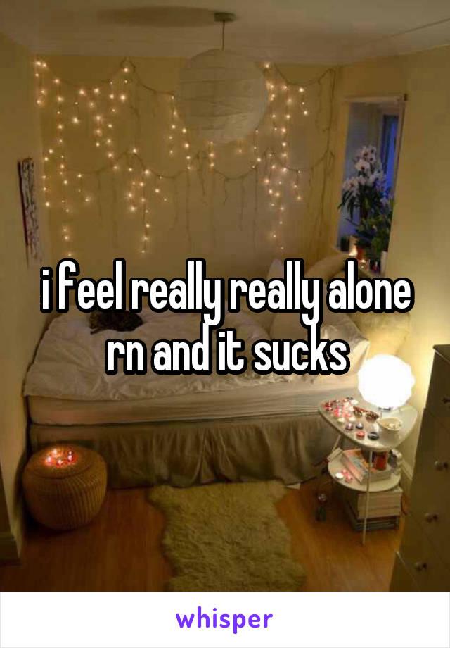 i feel really really alone rn and it sucks