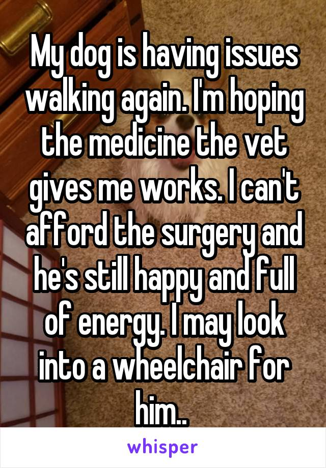 My dog is having issues walking again. I'm hoping the medicine the vet gives me works. I can't afford the surgery and he's still happy and full of energy. I may look into a wheelchair for him..