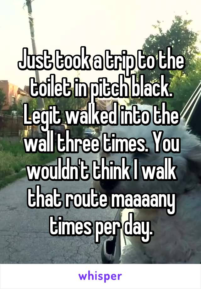 Just took a trip to the toilet in pitch black. Legit walked into the wall three times. You wouldn't think I walk that route maaaany times per day.