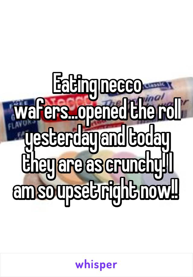 Eating necco wafers...opened the roll yesterday and today they are as crunchy! I am so upset right now!!