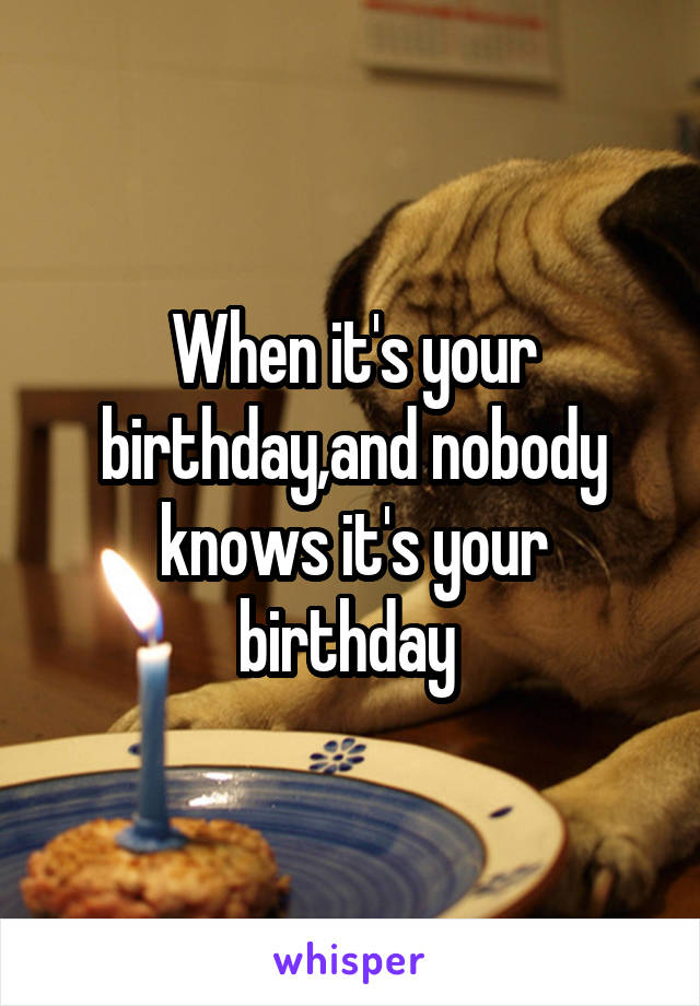 When it's your birthday,and nobody knows it's your birthday