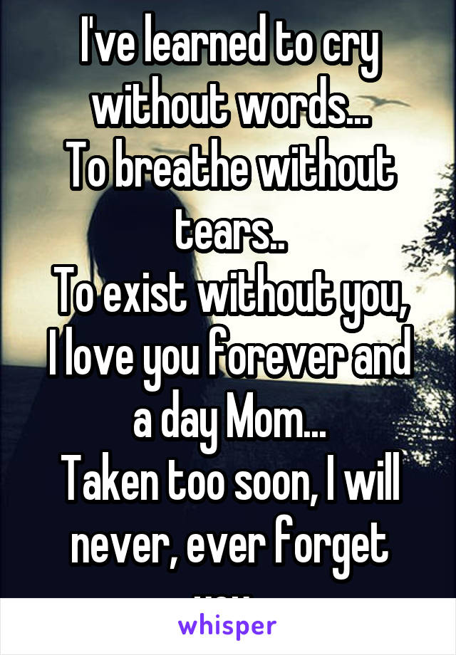 I've learned to cry without words... To breathe without tears.. To exist without you, I love you forever and a day Mom... Taken too soon, I will never, ever forget you..