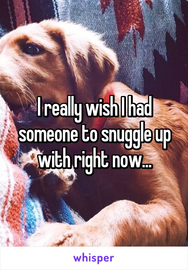 I really wish I had someone to snuggle up with right now...