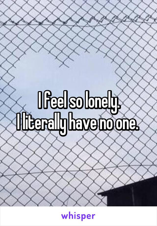 I feel so lonely. I literally have no one.