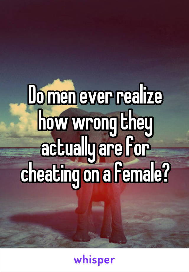Do men ever realize how wrong they actually are for cheating on a female?